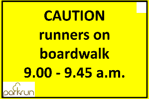 Caution runners on boardwalk