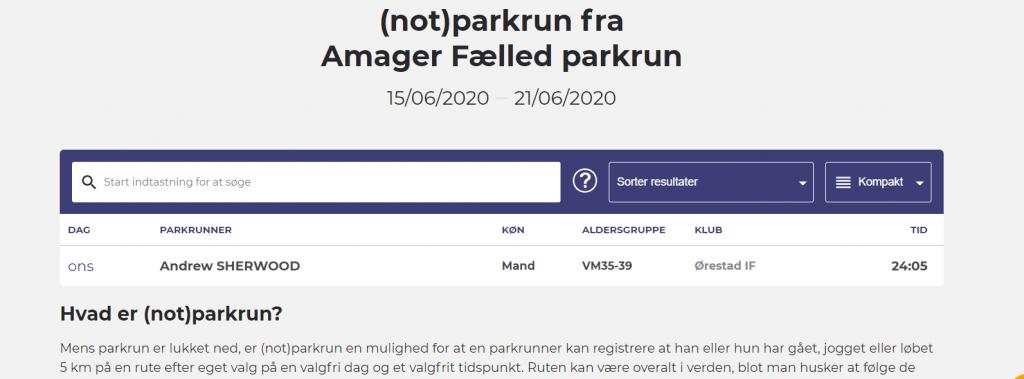 not parkrun Danish results