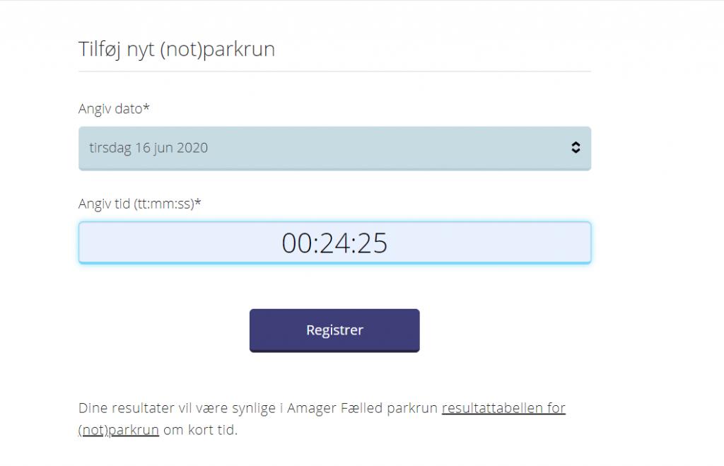 not parkrun register a time Danish