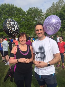 Dawn Heaven and Dale Millership celebrating their 50th and 100th parkrun milestone respectively