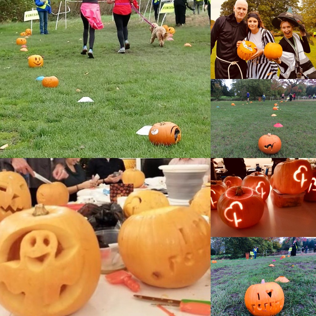 Pumpkin finish funnel at Guildford parkrun
