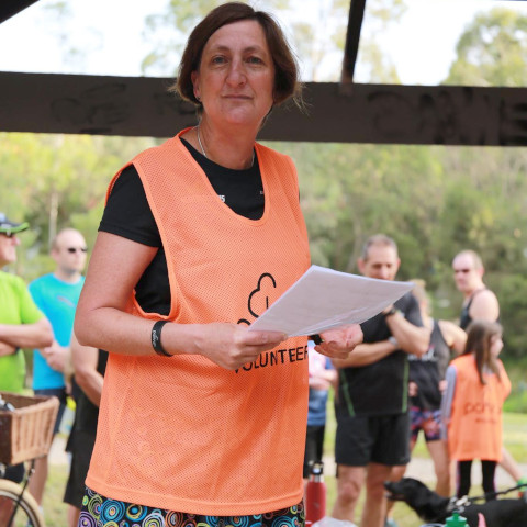 Wendy conducting RD duties on the launch day of Gardiners Creek parkrun