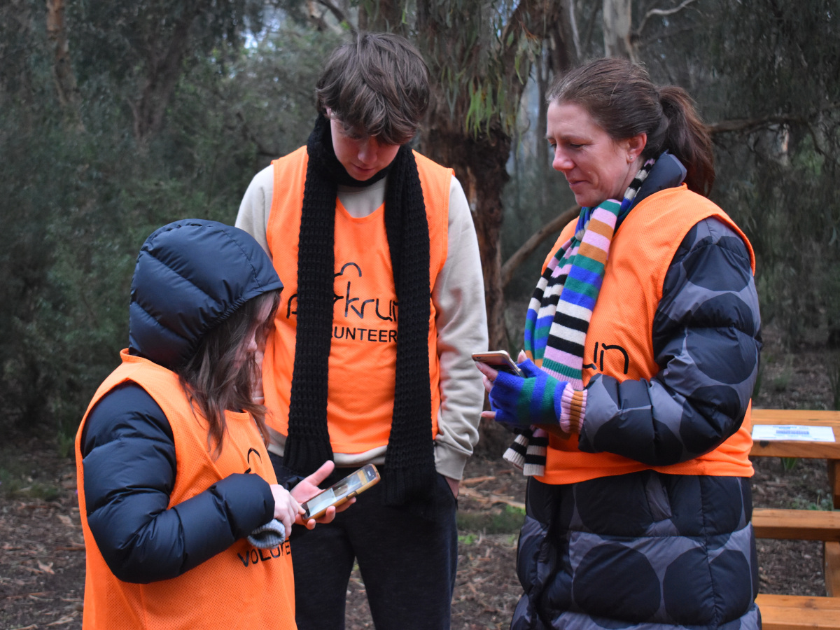 A girl demonstrates the parkrun app on her phone to an older boy and his mother.