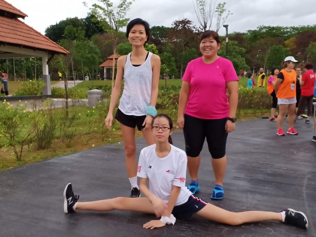 Post - run stretching led by Qing Qing