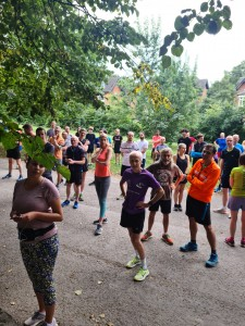 parkrunners paying rapt attention to Alison's run briefing