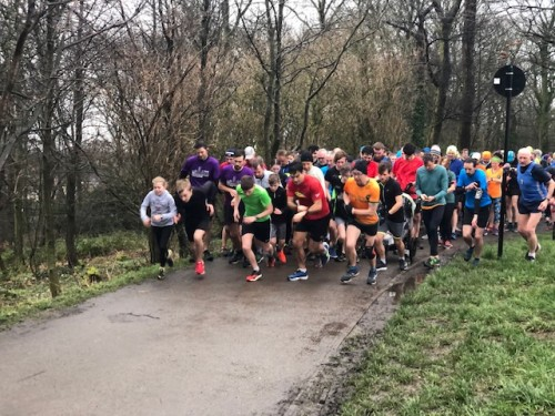 Runners at the start of Graves parkrun 15th February 2020