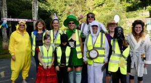 Volunteers in fancy dress at Nant y Pandy parkrun's first anniversary