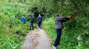 Volunteers clearing the route