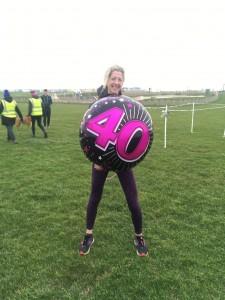 Martine post-run with her 40th birthday balloon