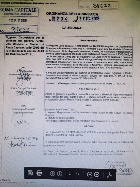 Ordinanza sindaco 14.12.2019