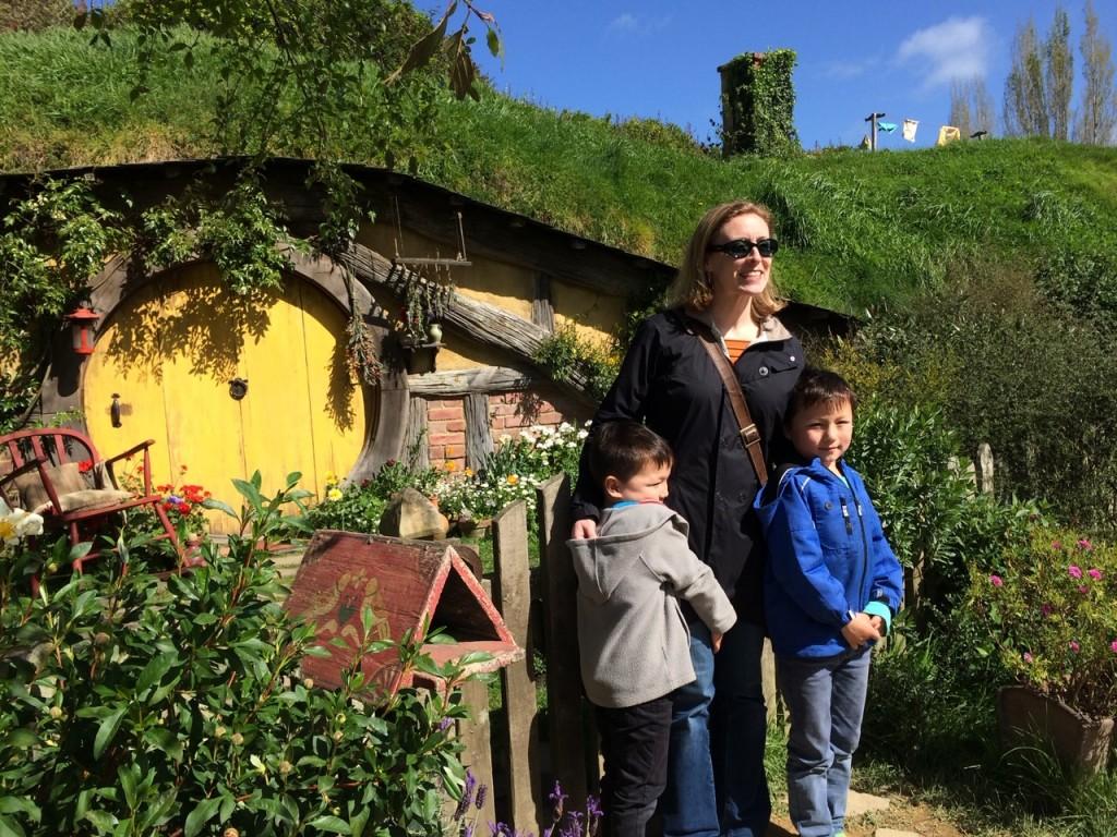 Yun family on the Hobbiton set