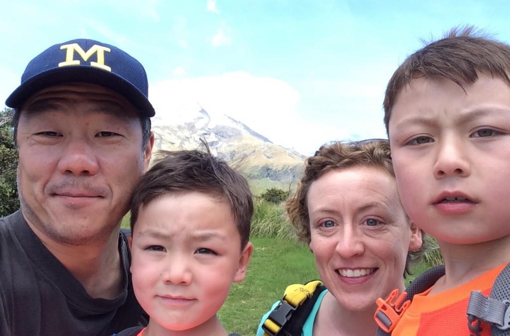 Yun family at Mt Taranaki