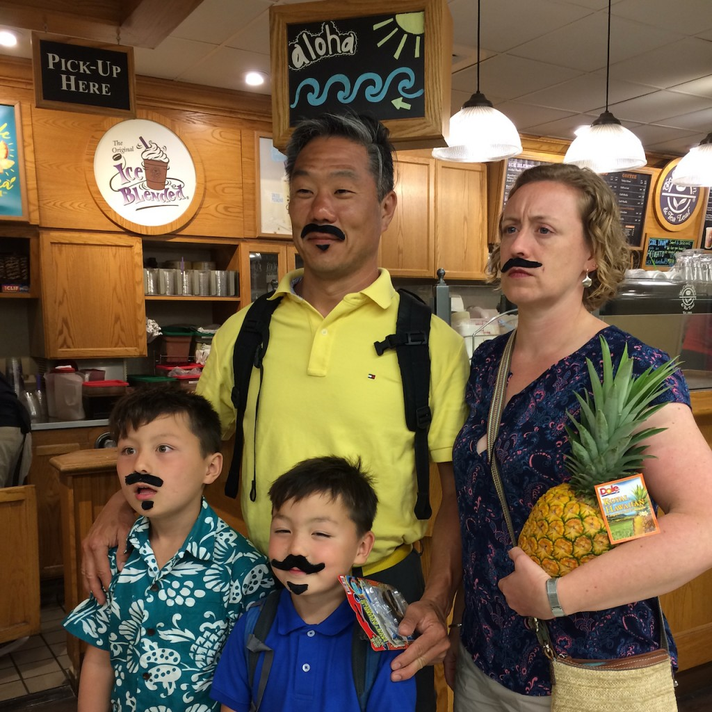 Yun family pineapples and mustaches