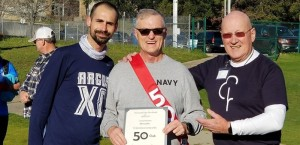 David receiving his 50th Run certificate from Robin Foley and Caleb Carmichael
