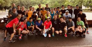 住友生命、ディスカバリー社とともに駒沢オリンピック公園(東京)で5㎞のランニング、ジョギング&ウォーキングイベントを行なった時の様子。(2018年7月)
