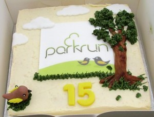 Happy 15th Anniversary parkrun - cake made by Little Creation Tree