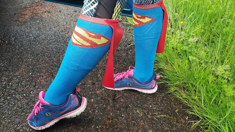 """Chloe's """"super"""" go-faster socks. <3"""