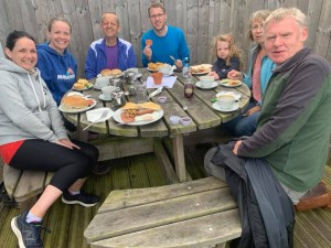 Runners and volunteers enjoy post-(not)parkrun refueling in the Land of the Rising Sun