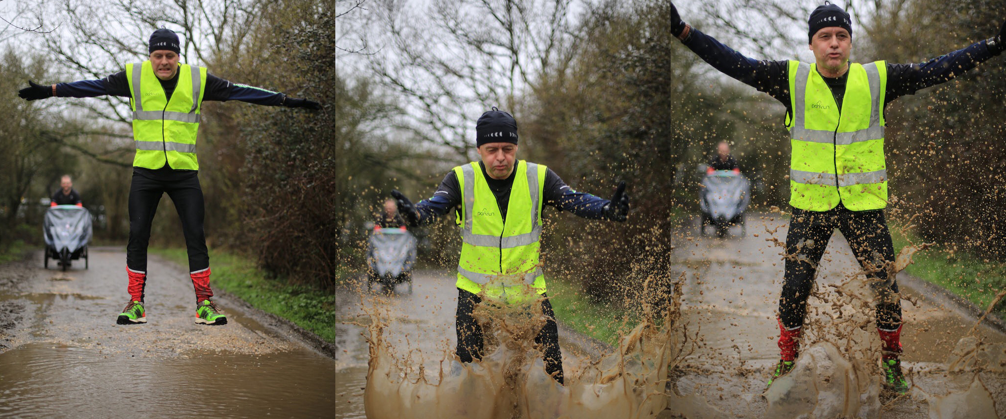 3 images of Ian. Left:  jumping high above a muddy puddle. Centre: landing with a big splash in the puddle. Right: a second big splash in the puddle.