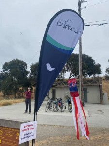parkrun flag with festive red white and blue 4th of July windsock