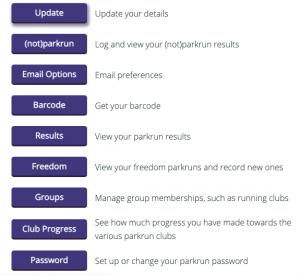 parkrun profile menu