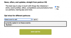 parkrun email opt-in screen