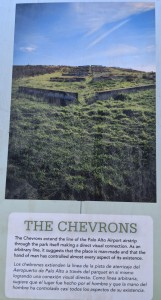 """A photo of the sign about the Art installation titled """"The Chevrons"""""""