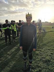 Runner wearing plastic crown
