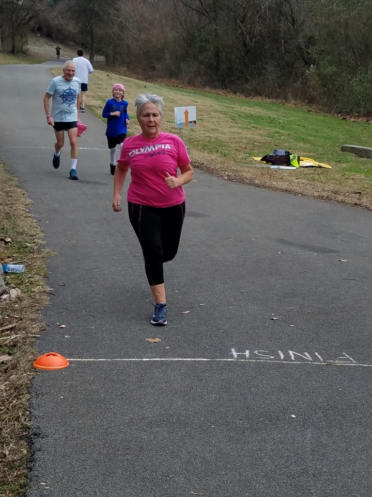 Jan Brown, visiting from Connecticut, completes her first parkrun
