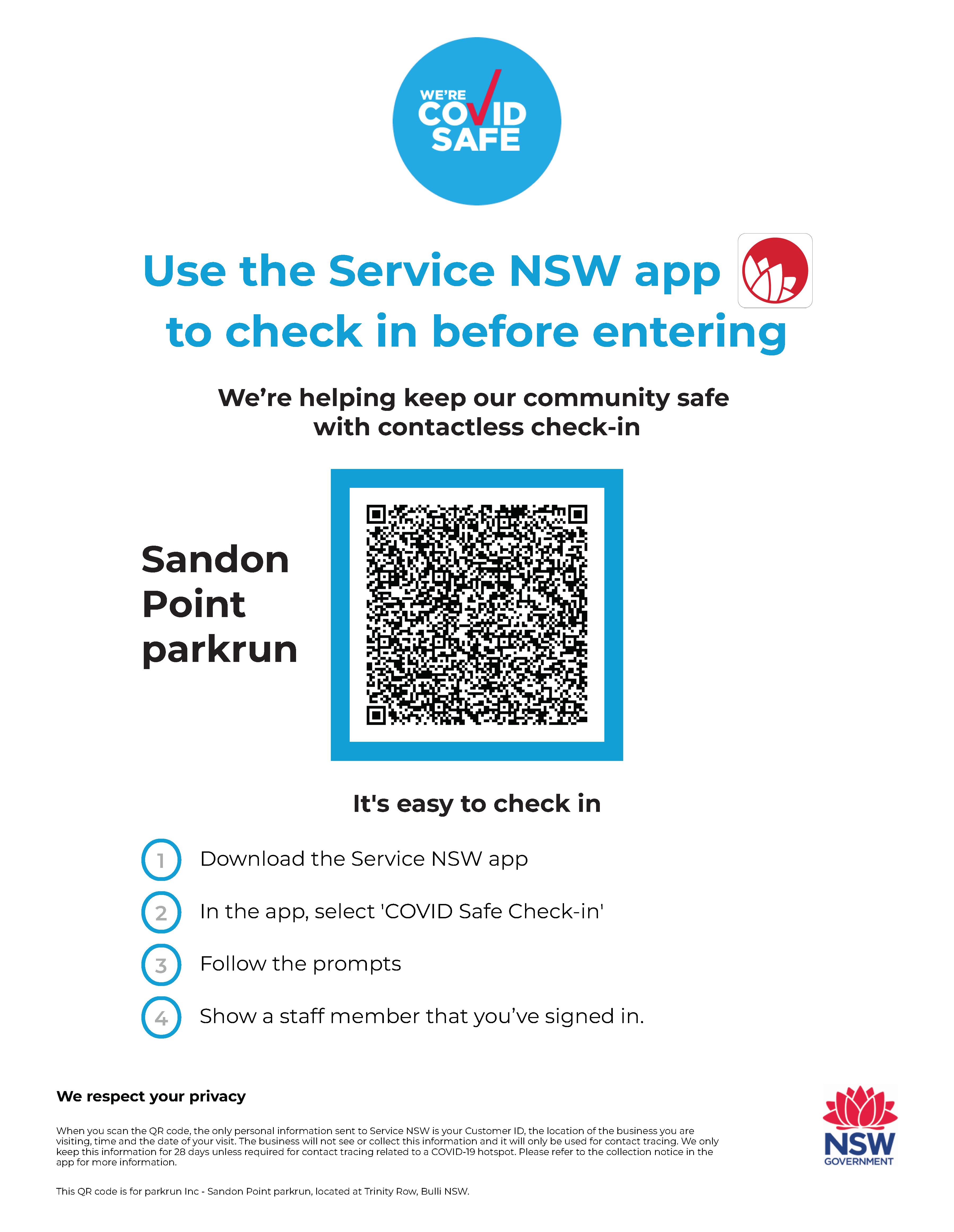 COVID19- Sandon Point parkrun QR code _ NSW Government