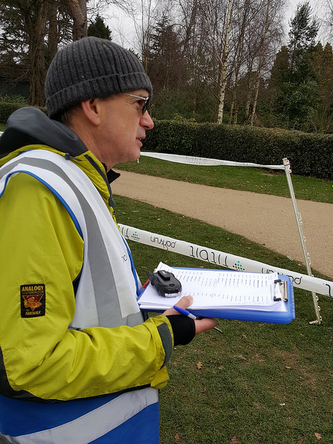 Steve pictured here on one of his many appearances as Run Director at RTW parkrun