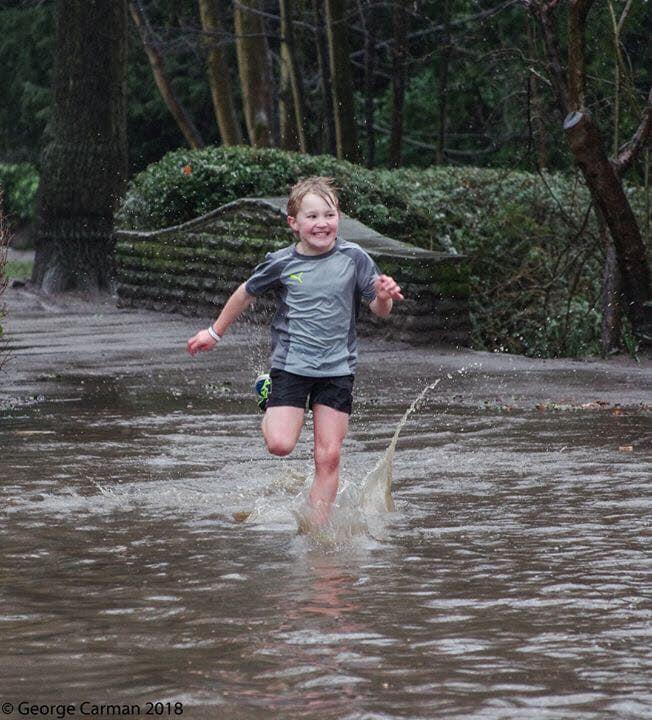Alfie in the wet