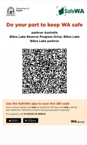 SafeWA check in now mandatory at Bibra Lake parkrun. Please check in before or after the event using this QR code.