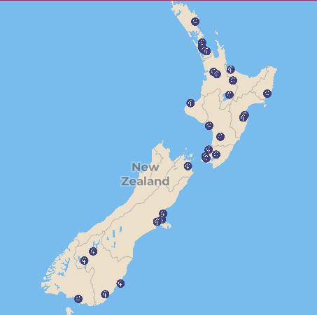 NZ parkruns map