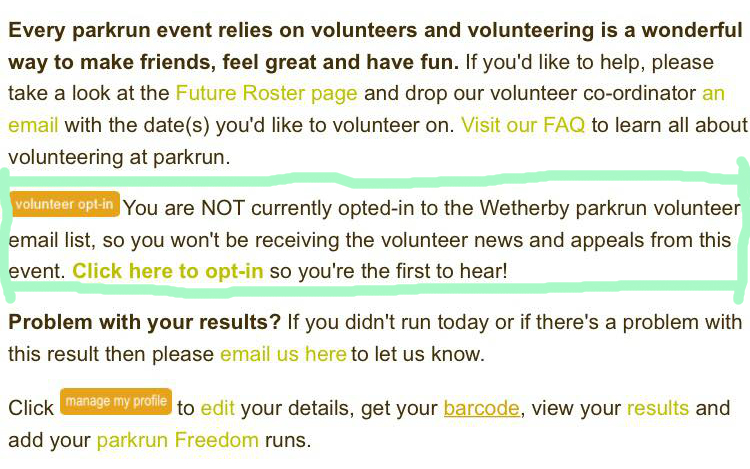 Email sign up - Wetherby parkrun