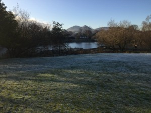 a crispy morning looking out from the start towards Arthur's Seat over the pond