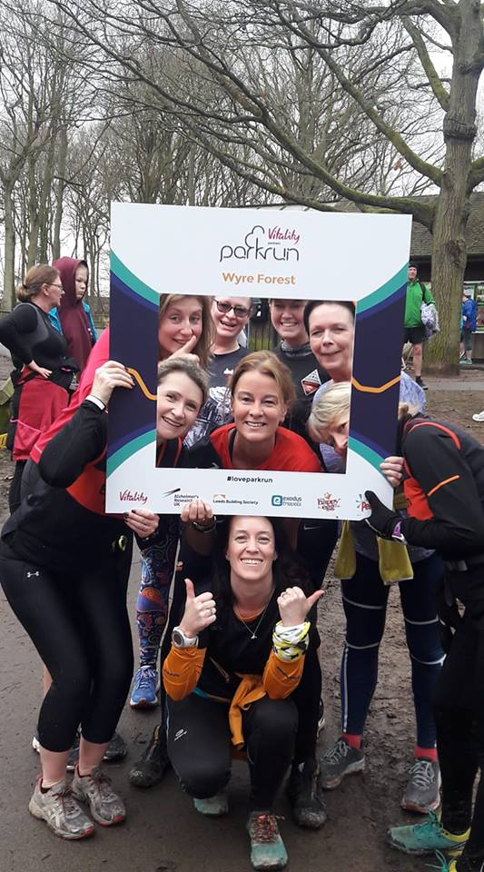 Jocetn celebrates her 10thh parkrun with friends from Bridgnorth Running Club!