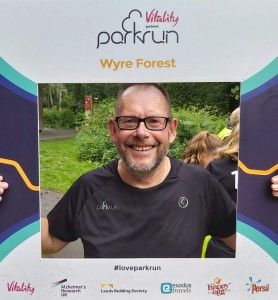 Mick Hudson celebrating his 100th Wyre Forest parkrun