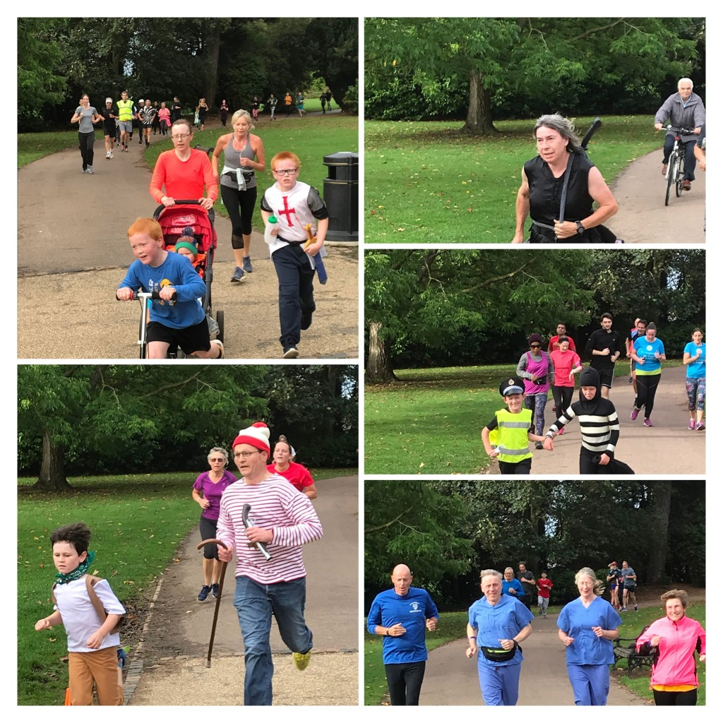 "Collage of runners wearing fancy dress, including a ninja outfit, ""where's wally"", and a young pair as cops and robbers"