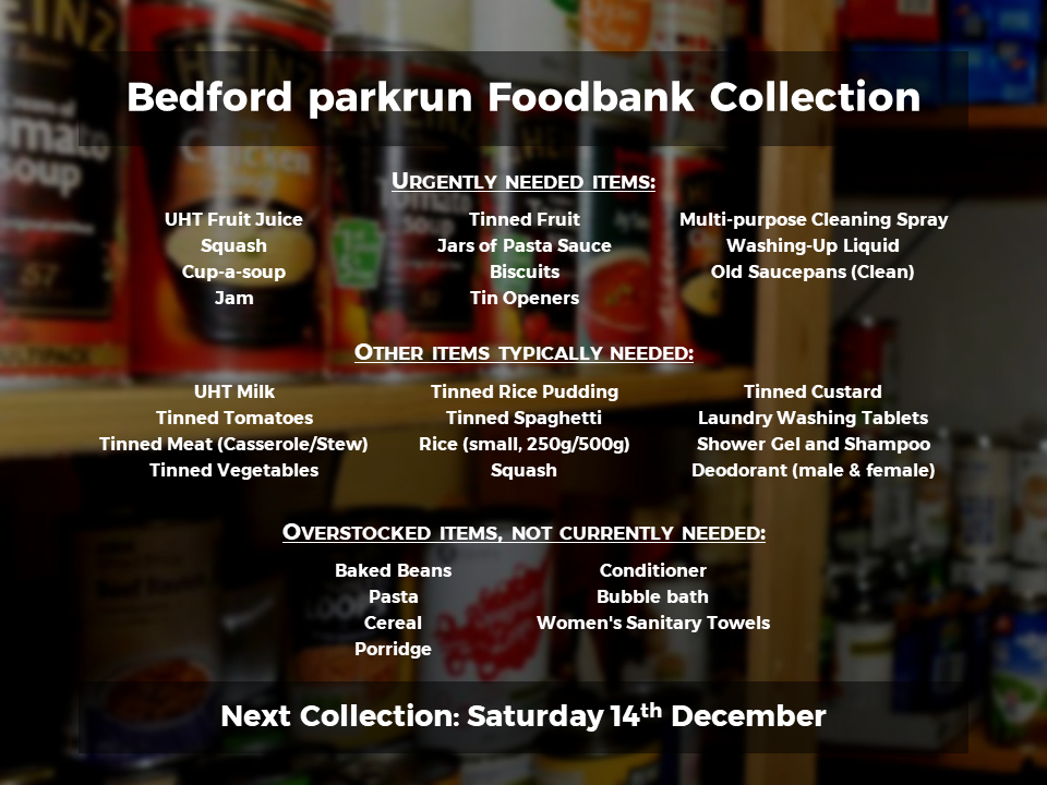 Foodbank Collection Bedford Parkrun