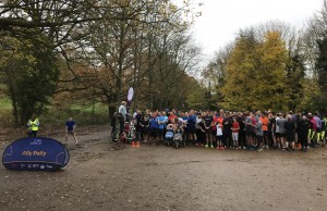 Assembling for the start of Ally Pally parkrun 400