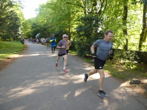 Runners at the top of the first hill.