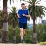 Eddie McAndrew running in the Melbourne sunshine