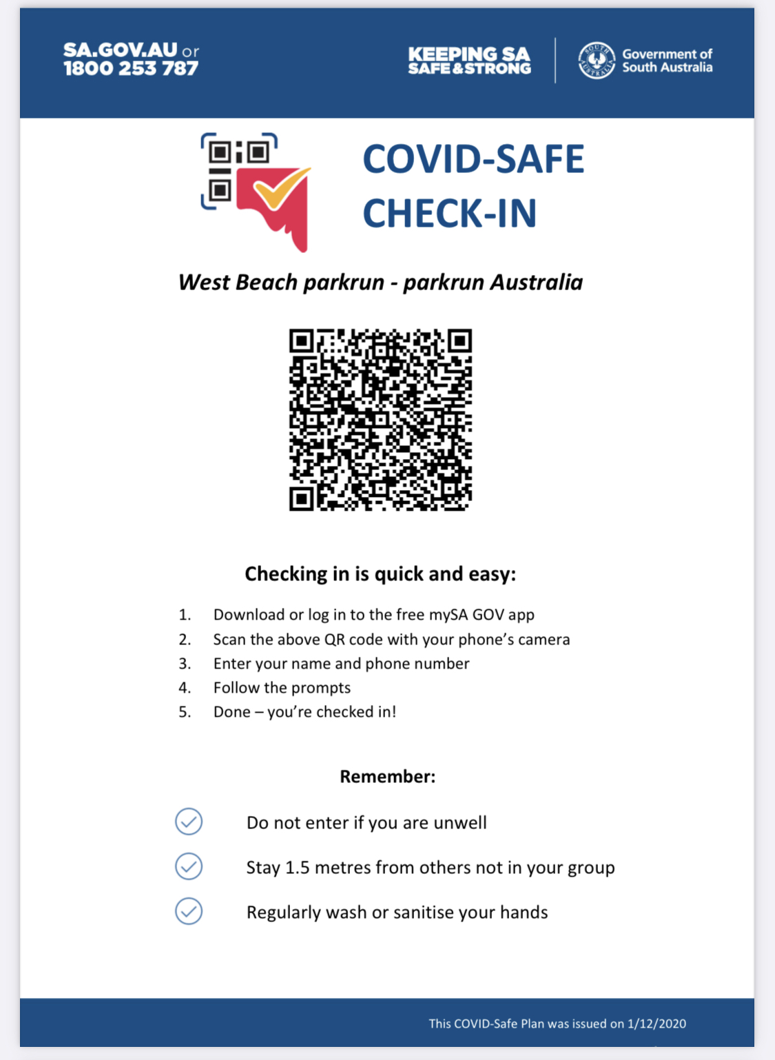 COVID Safe Check In West Beach parkrun