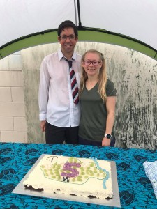 Russell and Megan Clarke with the cake they baked and decorated.