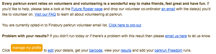 "A screen capture of a parkrun results email showing the ""manage my profile"" button"